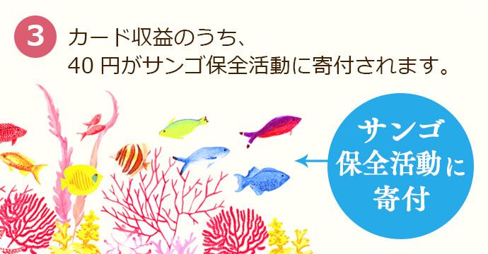 カード収益のうち、40円がサンゴ保全活動に寄付されます。